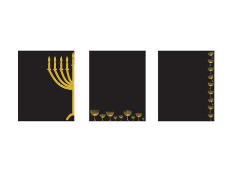 Horizontal Hanukkah banner - Gold Menorah with candles and stars on Black background Imagens - 154434778