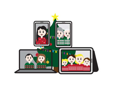 Laptop, Tablet and Smartphones with cartoon characters and Christmas tree Ilustração