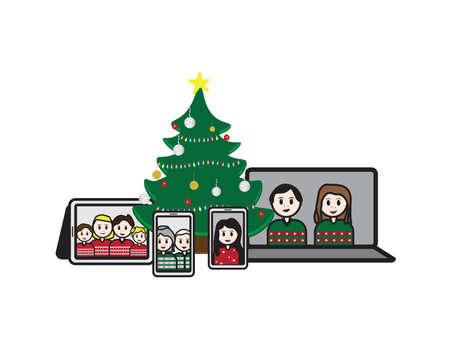 Laptop, Tablet and Smartphones with cartoon characters around decorated Christmas tree