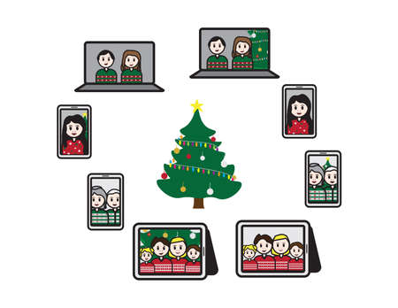 Online Christmas - Friend and family characters on laptops,tablet and smartphone screens around a Christmas tree Ilustração