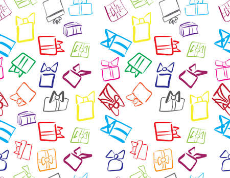 Colorful hand drawn gifts boxes seamless pattern on White background