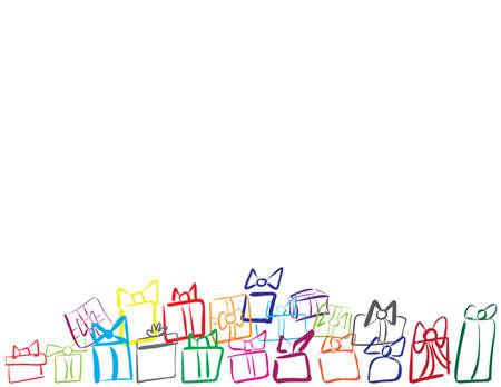 Colorful hand drawn gifts boxes on White background