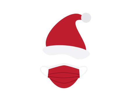 Red White Santa Claus hat and Face mask on White background