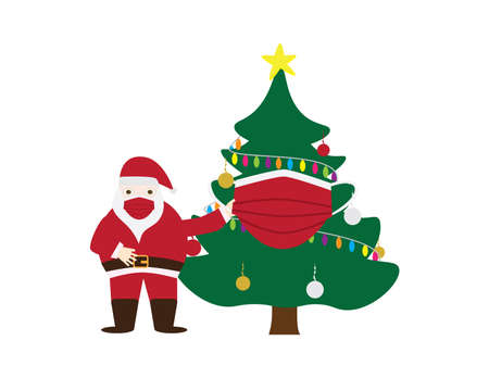 Santa Claus and Christmas tree wearing Red face masks vector illustration on White background