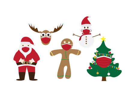 Set of Christmas symbols - Santa Claus, Gingerbread man cookie, Decorated Christmas tree, Reindeer head and Snowman - wearing Red face masks on White background Ilustração