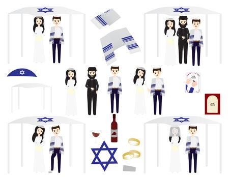 set of Jewish wedding illustrations - Jewish bride, groom and rabbi, tallit, wine and rings