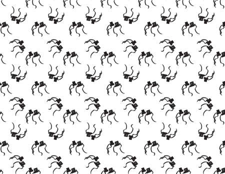 Black Jewish Tefillin seamless pattern on White background
