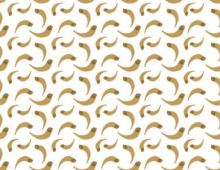 Brown Jewish Shofar seamless pattern on White background