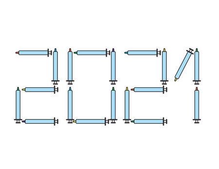 2021 numbers shape with colorful vaccine injectors, corona free 2021 Ilustração