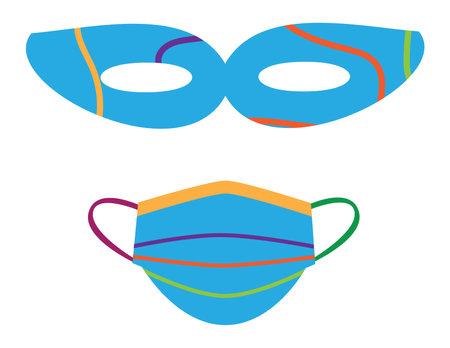 Colorful eye mask and face mask on White background Ilustração