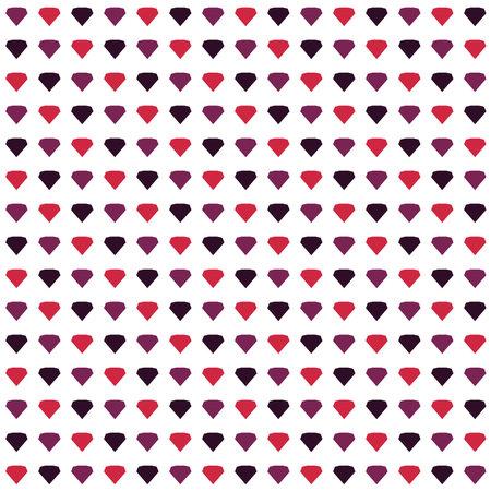 Purple Red diamonds shapes rows seamless pattern on White background Ilustração