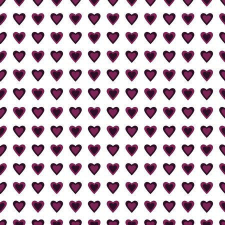 Purple hearts rows seamless pattern on White background Ilustração