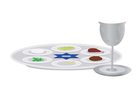 Passover plate and Elijah's cup on White background Ilustração