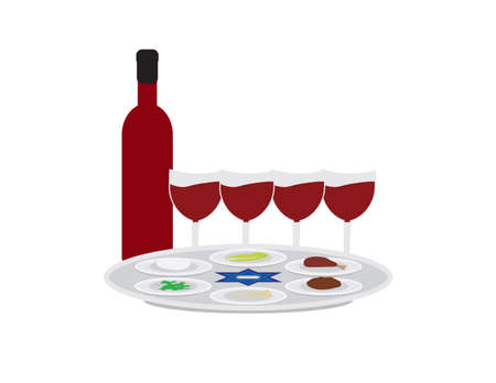 Passover plate, wine bottle and four wine glasses on White background Ilustração
