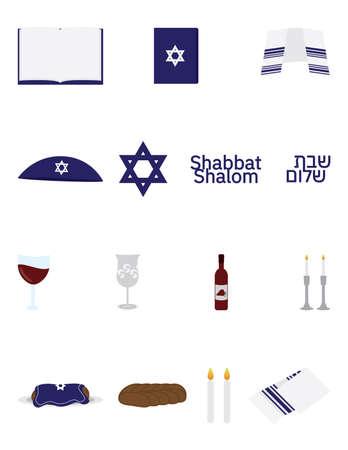 Jewish Shabbat icon set, Shabbat shalom Hebrew and English, star of David, kippah, Kiddush cup, wine glass, wine bottle, Torah Jewish book, Tallit, Challah and Shabbat candles Ilustração