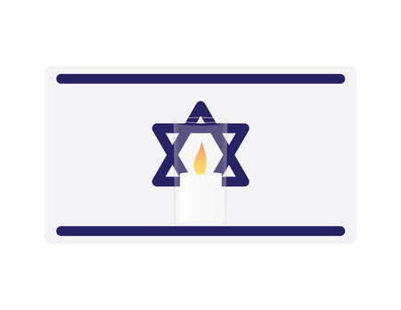 Vector illustration of memorial candles on Israeli flag with White background Ilustração