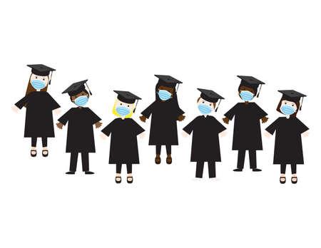 Vector illustration of students wearing face masks and graduation hats Ilustração