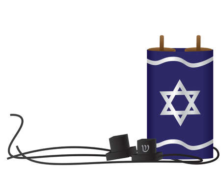Torah scroll with Blue Silver Star of David cover, and Black tefillin on White background