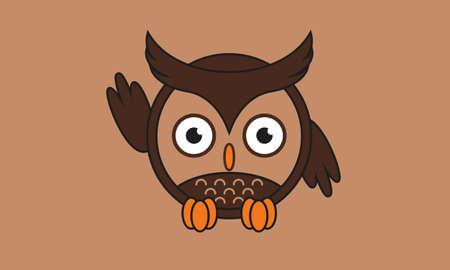 cute waving owls in round chocolate