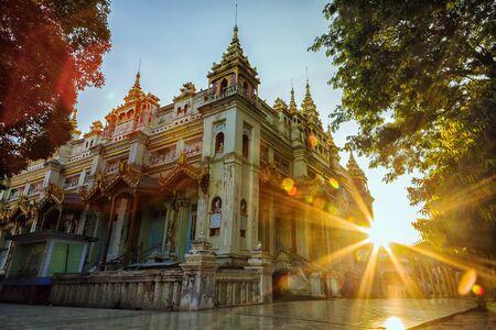 Beautiful sunset & Religious building in Myanmar