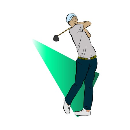 Golf Player With Triangle Background Illustration