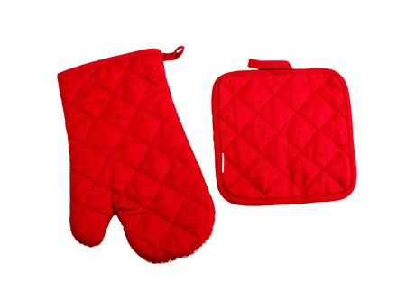 red kitchen: Red kitchen glove isolated on white Stock Photo