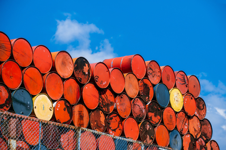 brent crude: oil tanks stacked in a row
