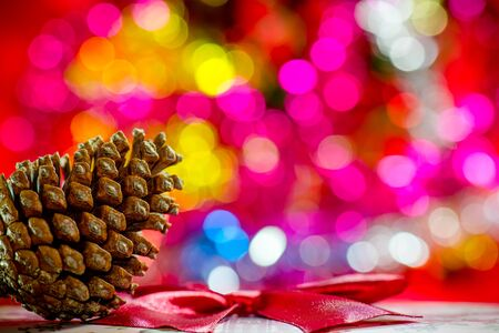 pinecone: pinecone on bokeh effect background. Christmas decorations