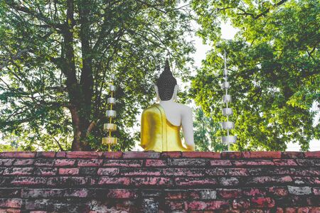 godhead: Back Of Buddha Statue In Thailand Temple Stock Photo