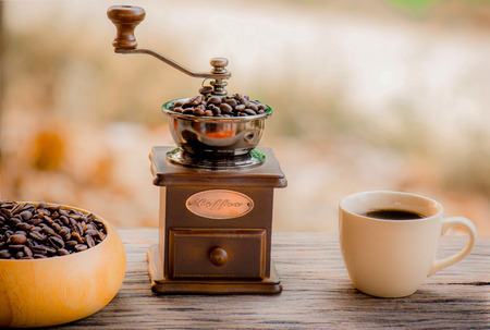 caffiene: Coffee grinder and coffee beans