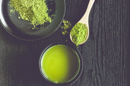 green herbs: Matcha Tea in a Bowl