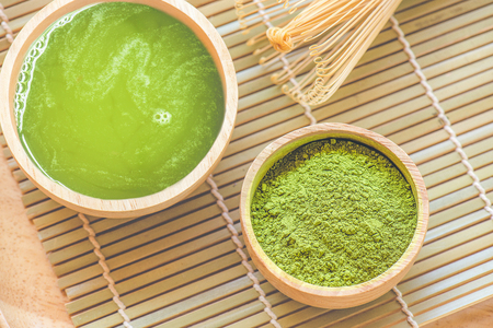 Green Matcha Tea in a Bowl