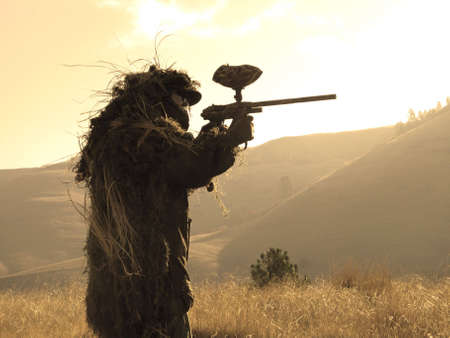 Sniper in ghille suit