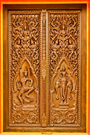 vow: Carved wooden doors vow LDS Stock Photo