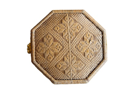wicker work: The octagonal box with wicker, rattan and bamboo