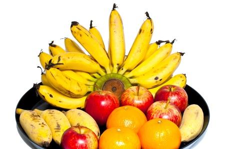 Include banana, orange and apple fruit tray  photo