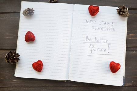 transformed: To Do List transformed into New Year s resolutions list Flat lay style Stock Photo