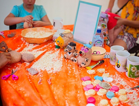 creativity: Children make crafts from sawdust and stockings. The concept of childrens creativity