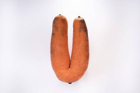 Ugly Carrots on a white background Isolated