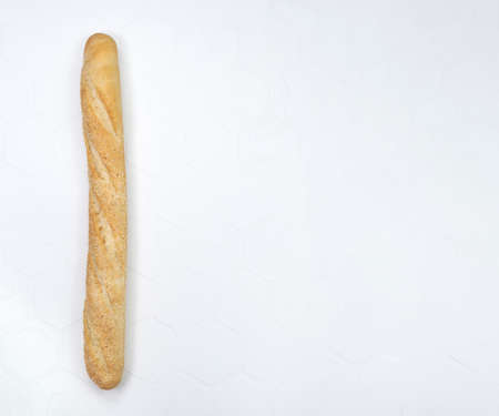 Light and delicious baguette bread isolated on white background