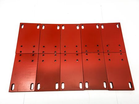 Steel round chrome metal plate set red