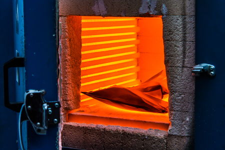 furnace steel foundry molten metal industrial background fire blast plant Stock Photo