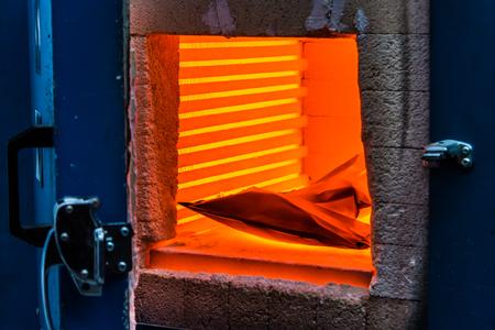 oven staal gieterij gesmolten metaal industriële achtergrond fire blast plant