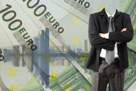 Double exposure of businessman working with new big city and EURO money  background and business strategy as concept photo