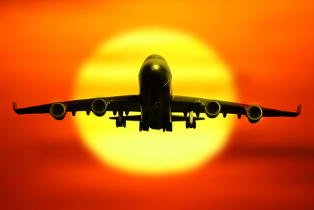 on off: passenger plane on sky at sunset time very beautiful , use for air transport ,journey and travel industry business Stock Photo