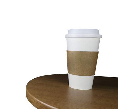 takeout: Takeout coffee in thermo cup. Isolated on a white.