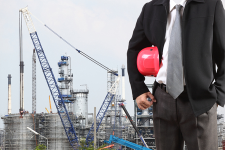 globalwarming: man and oil and gas industry in powerful and crane at work area