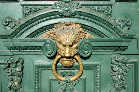 gilded: Decorative gilded lion head door knob