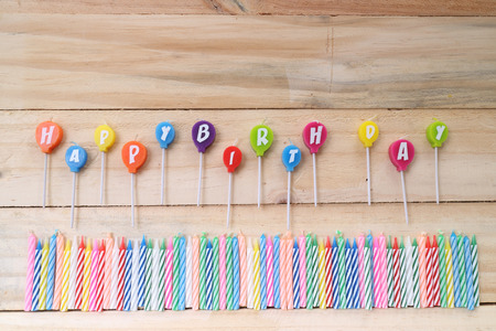 happy birthday candles: Colorful happy birthday candles Stock Photo