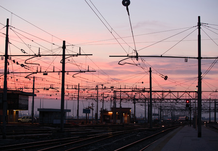 transformator: Impression network at transformer station in sunrise, high voltage up to full color sky take with sunset tone, horizontal frame